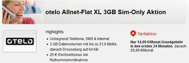otelo (Vodafone) Allnet  & SMS Flat + 3GB für 14,99€ mtl.