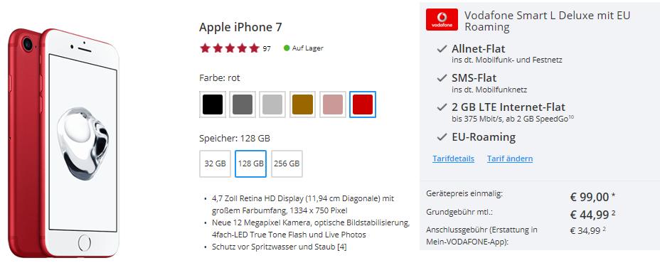 iPhone 7 128GB + Vodafone Smart L mit 2GB LTE für 49,12€ mtl.   Top!