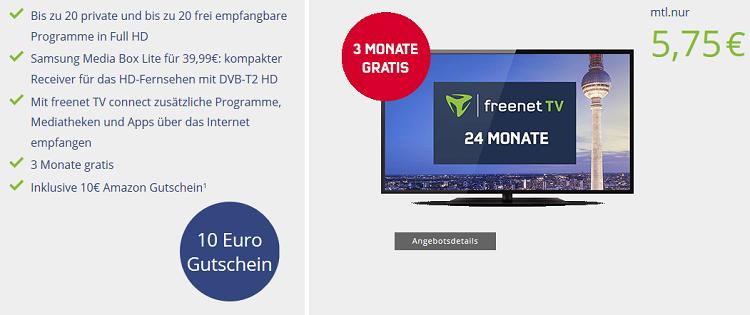 freenet TV (DVB T2) für 5,75€ mtl. + Samsung Media Box Lite für 39,99€   3 Monate kostenlos + 10€ Amazon Gutschein