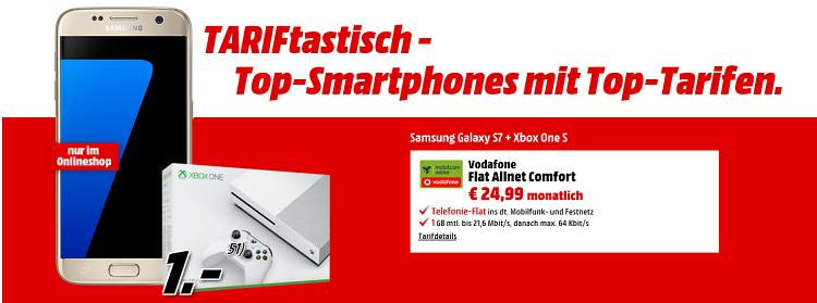 Vodafone Flat Allnet mtl. 24,99 Euro + Galaxy S7 + Xbox One S für einmalig 1€   Effektiver Gewinn!
