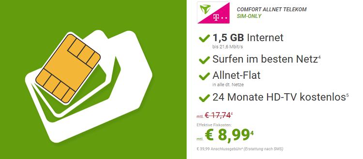 Telekom Allnet Flat mit 1,5GB + Freenet DVB T2 HD für nur 8,99€ mtl.