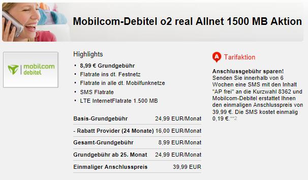 o2 real Allnet Flat mit 1,5GB LTE für nur 8,99€ mtl.