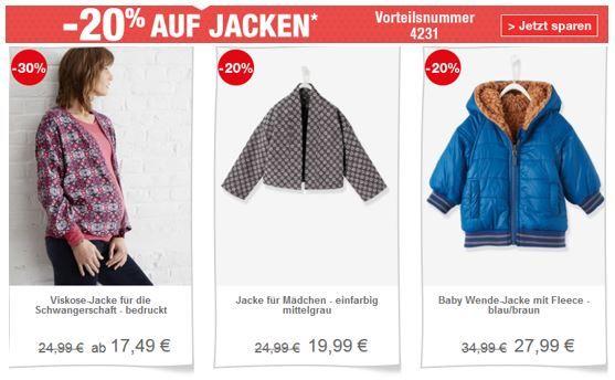 vertbaudet Jacken Sale mit 20% Rabatt auch im Sale