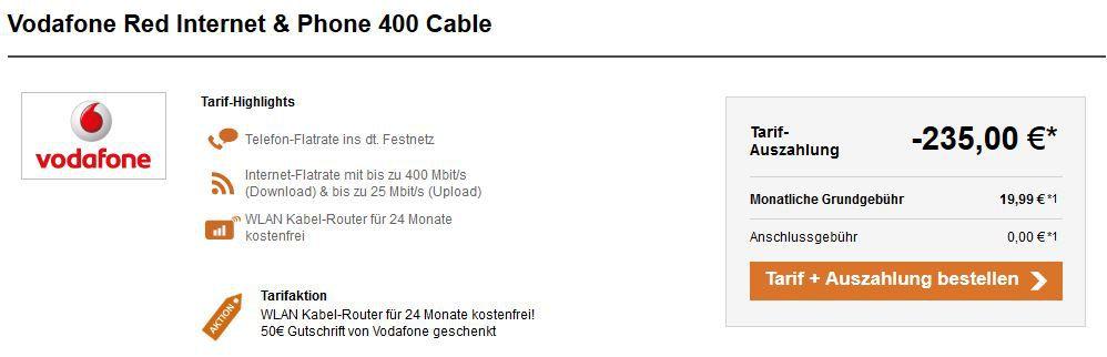 Vodafon DSL & Telefon Festnetz Flatrate bis zu 400 Mbit/s ab eff. 11,24€ mtl.