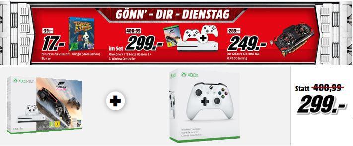 Xbox One S 1TB Konsole + Forza Horizon 3 + Wireless Controller für 299€   im Media Markt Dienstag Sale