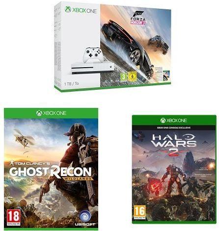 Xbox One S (1TB Konsole) + Forza Horizon 3 + Ghost Recon Wildlands + Halo Wars 2 für 321,13€ (statt 436€)