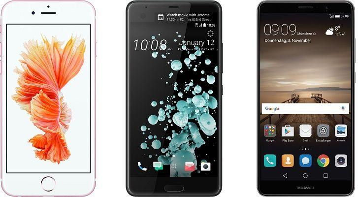 Verschiedene Smartphones z.B. Huawei Mate 9 für 19€ + Vodafone Smart L mit 2GB LTE für 34,99€ mtl.