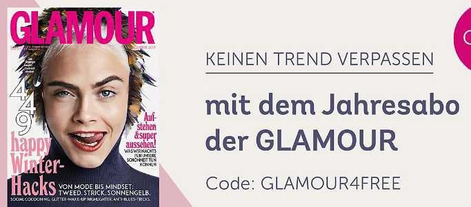 Gratis Glamour Jahresabo ab 30€ bei Mirapodo   endet automatisch!