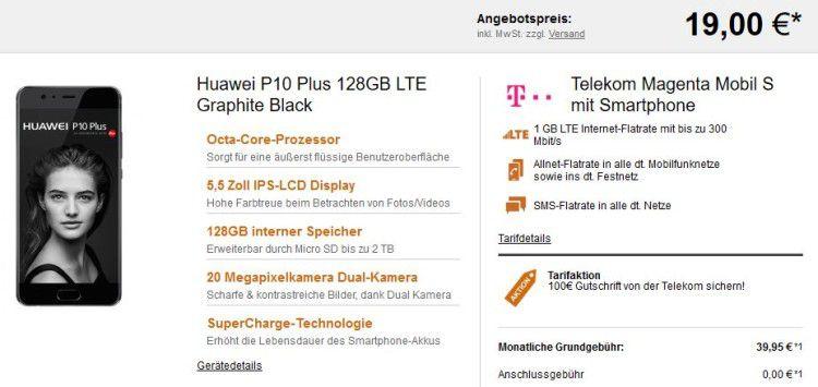 Huawei P10 Plus für 19€ + Telekom Magenta Mobil S für 42,45€ – Friends Vorteil möglich + Alt gegen Neu Aktion