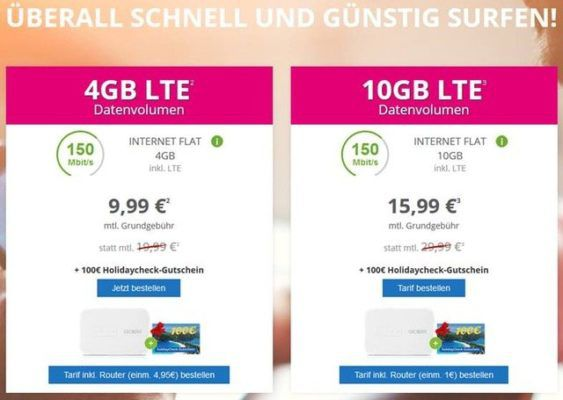 Telekom Datenflat max. 225 Mbit/s bis 20GB ab 9,99€ mtl. inkl. Holidaycheck Gutschein