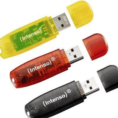 3x Intenso Rainbow Line 16GB USB Speicherstick für 9€ (statt 17€)