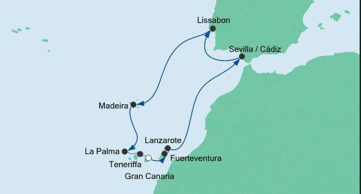 9 ÜN – Kreuzfahrt mit AIDAsol zu Weihnachten von/bis den Kanaren via Lissabon ab 1350€ p.P. inkl. Flug