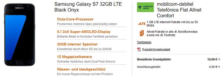 Samsung Galaxy S7 + o2 Allnet Flat mit 1GB LTE für 21,36€ mtl.