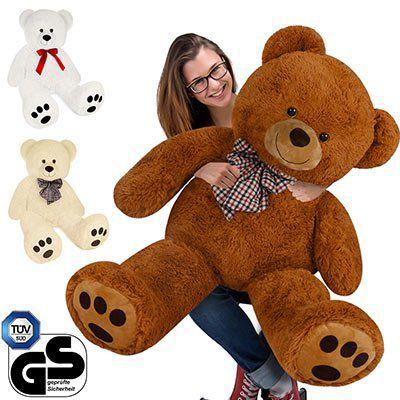 Plüsch Teddybär 90cm mit Schleife in Weiß, Braun oder Creme für 19,95€