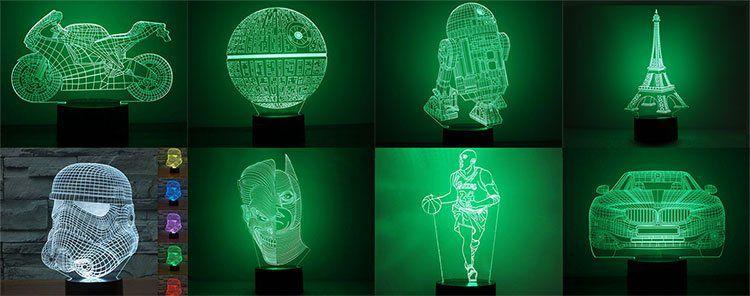 Div. 3D LED Lampen mit visuellem Effekt & 7 Farben ab 10,90€
