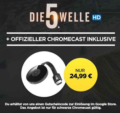 wieder da! Google Chromecast 2 + HD Stream: Die 5. Welle für 22,99€