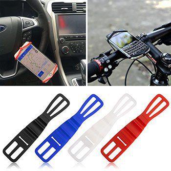 Universelle Handyhalterung aus Silikon in 4 Farben für Fahrrad & Co für je 1,11€