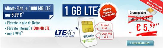 o2 Comfort Allnet Flat mit 1GB LTE für 5,99€ mtl.
