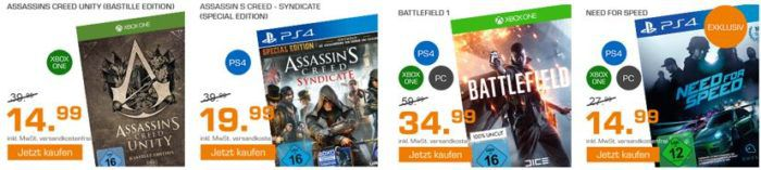 Saturn Weekend Sale: u.a. Need for Speed  für PC, PS4, XBox One je 14,99€