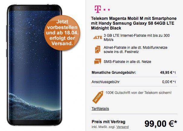 Samsung Galaxy S8 für 99€ (statt 799€) + Telekom Magenta Mobil M mit 3GB LTE für 49,95€ mtl. + 100€ Cashback möglich