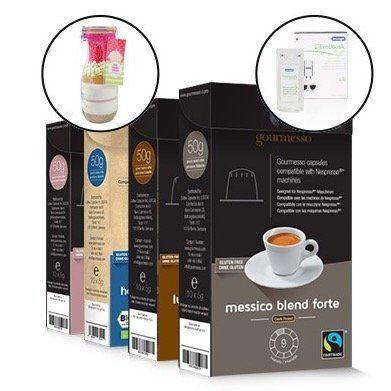120 Gourmesso Kaffeekapseln + Entkalker + Backmischung für 39,99€
