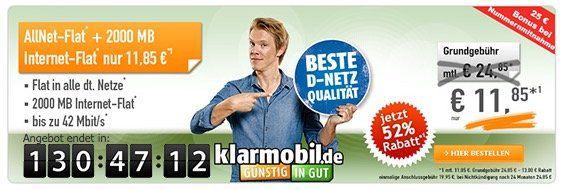klarmobil Allnet Flat im Telekom Netz mit 2GB für 11,85€ mtl. + 50€ Gutschrift bei Rufnummermitnahme!