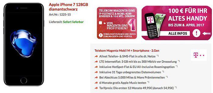 iPhone 7 128GB für 1€ + Telekom Magenta Mobil M (mit neuen StreamOn Optionen) für 52,45€ mtl. + 5.000 Meilen