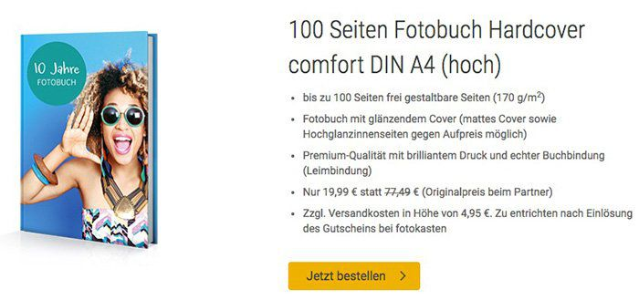 Tchibo: Hardcover Fotobuch mit 100 Seiten A4 für 24,94€
