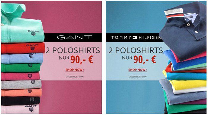 2er Pack GANT oder Tommy Hilfiger Poloshirts für 80€