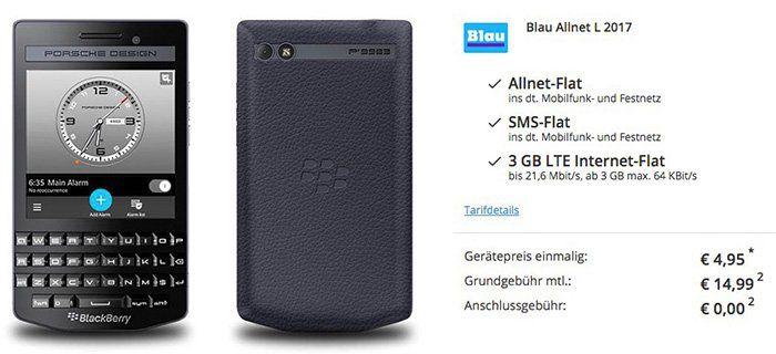 Blackberry P9983 im Porsche Design + o2 Allnet Flat mit 3GB LTE für 14,99€ mtl.