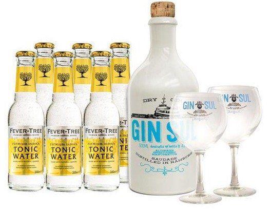 Gin Sul Set mit 4 Gläser + 12 Flaschen Indian Tonic für 71,80€