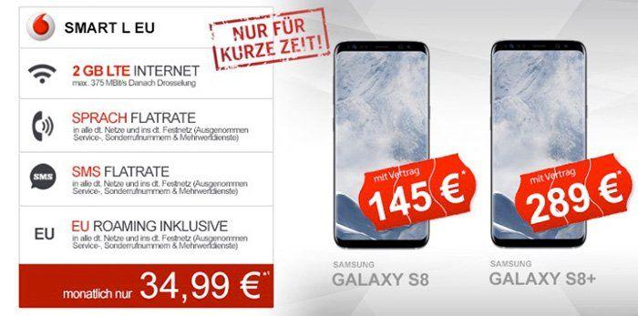 Samsung Galaxy S8 + Vodafone Smart L 2GB LTE für 41€ mtl.