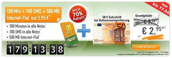 Vodafone Tarif mit 100 Min/SMS + 500MB für 2,95€ mtl. + 50€ Guthaben bei Rufnummermitnahme