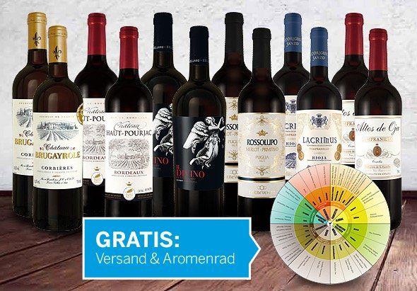 15% Rabatt auf Wein Probierpakete bei ebrosia (Neukunden)   z.B. 12 Flaschen Topseller Weine für 51€