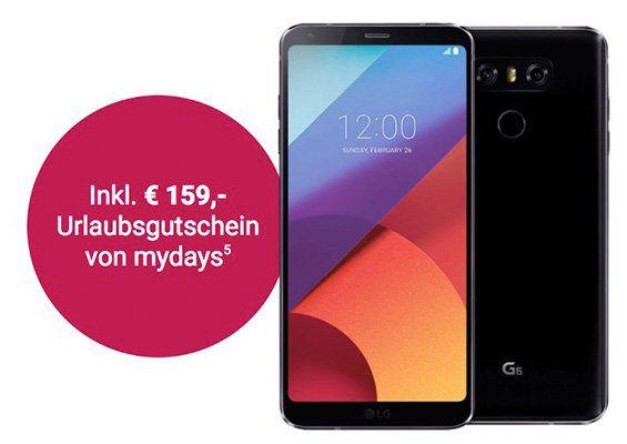 LG G6 Smartphone für 4,95€ (statt 749€) + D1/D2/o2 Tarif vorbestellen + gratis 159€ mydays Gutschein
