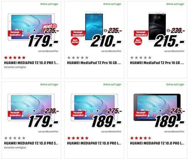Tipp! Günstige Tablets bei Media Markt   z.B. Huawei MediaPad T2 10.0 Pro LTE für 189€ (statt 229€)