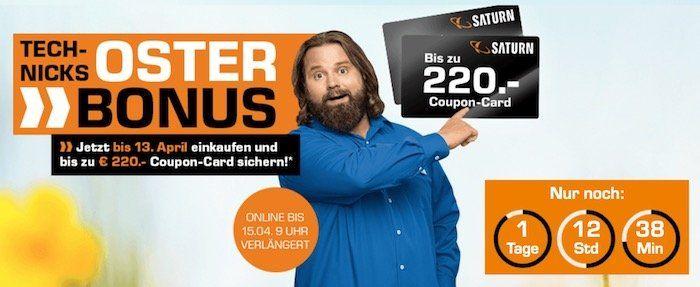 Knaller! Saturn Oster Bonus: bis zu 220€ Gutschein beim Kauf ausgewählter Produkte