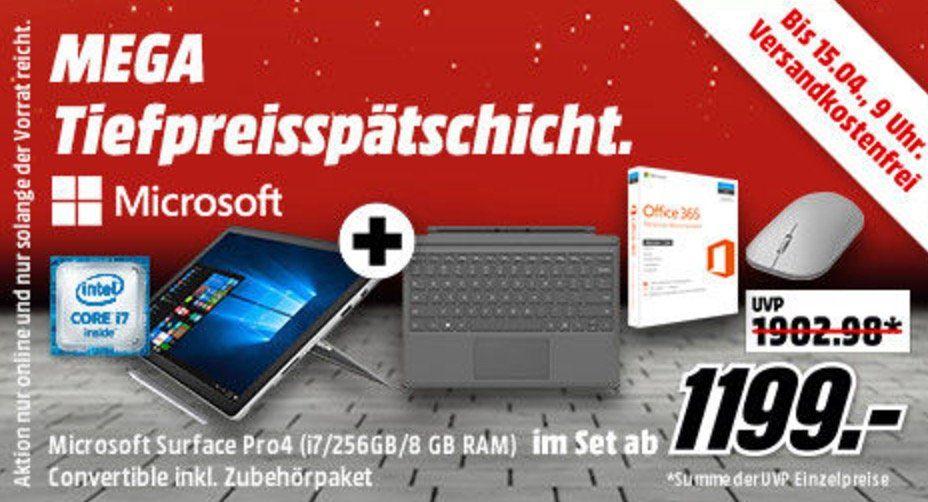Surface Pro 4 für 1.199€ (statt 1.477€) und mehr Hammer Angebote in der Media Markt Mega Tiefpreisspätschicht