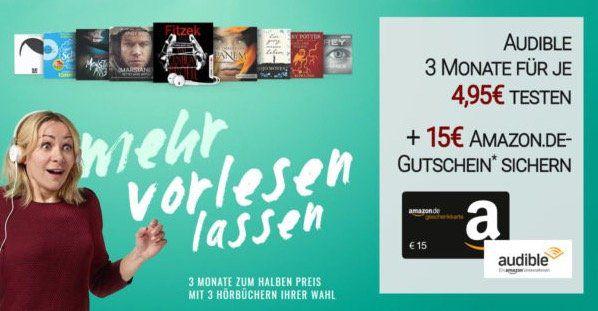 3 Monate Audible effektiv gratis testen dank 15€ Amazon.de Gutschein*   nur Neukunden!
