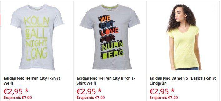 Großer T Shirt und Poloshirt Sale bei Mandmdirect   z.B. adidas Neo Herren City Birch T Shirt für 2,95€