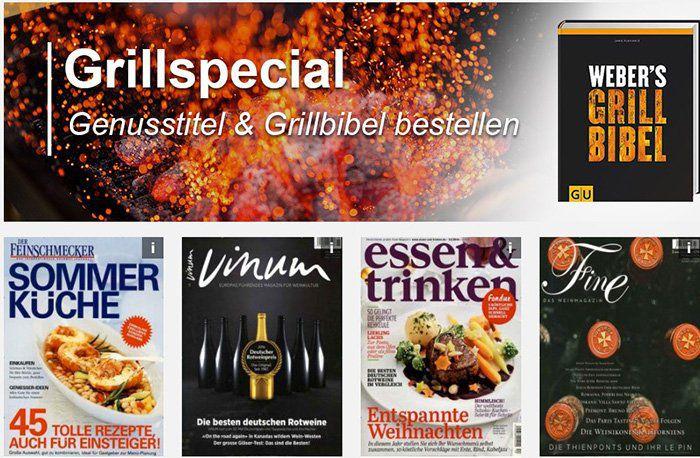 Ernährungs  und Wein Abos + gratis Weber Grill Bibel (Wert 25€)