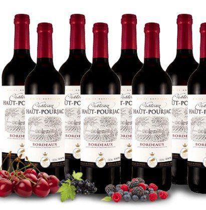 8 Flaschen Château Haut Pourjac Bordeaux   Rotwein für 39€
