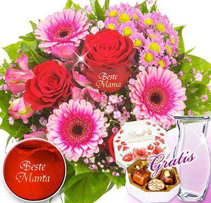Blumenstrauß Beste Mama + Lindt Pralinen + Vase für 24,98€