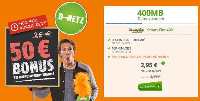 Vodafone Flat 400 mit 100 Frei Minuten + 400MB für 2,95€ mtl. + 50€ Guthaben bei Rufnummermitnahme