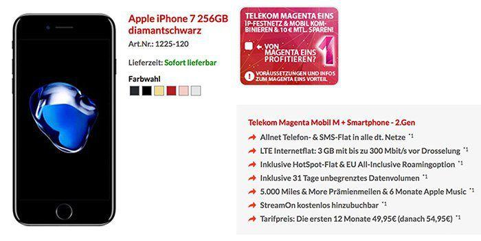 iPhone 7 256GB für 1€ + Telekom Magenta Mobil M mit 3GB LTE für 53,74€ mtl. + MagentaEins Vorteil