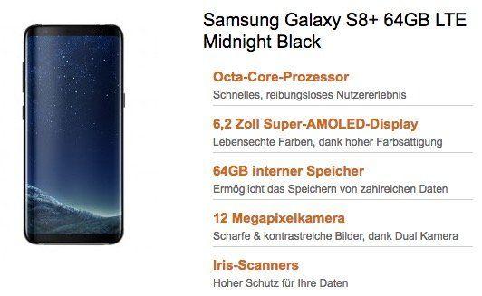 Samsung Galaxy S8 Plus für 1€ (statt 779€) + Telekom Magenta Mobil M mit 3GB LTE für 52,45€ mtl.