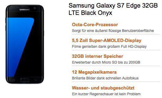 TOP! Samsung Galaxy S7 Edge nur 1€ + Vodafone Young M mit 3GB LTE für eff. 27,53€ mtl.
