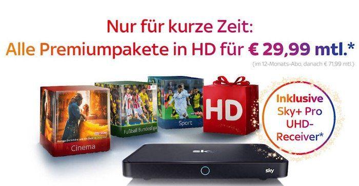 TOP! Sky komplett (Starter, Buli, Sport, Cinema) + HD Paket + UHD Pro Receiver nur 29,99€mtl.
