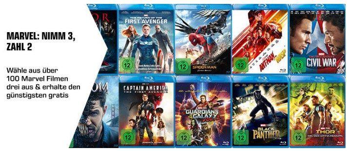 Marvel Aktion: 3 Filme auf Blu ray kaufen   nur 2 bezahlen