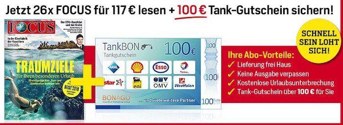 TOP! Focus Halbjahresabo mit 26 Ausgaben für 117€ + 100€ Tank Gutschein